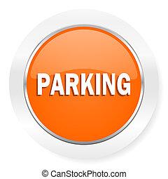 arancia, computer, parcheggio, icona