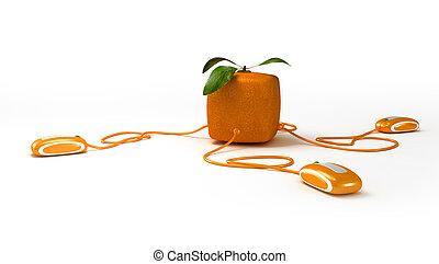arancia, comunicazioni, cubico