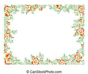 arancia, cornice, verde, floreale