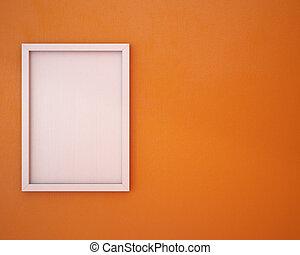 arancia, cornice, vuoto, wall.