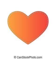 arancia, cravatta, segno., applique, isolated.