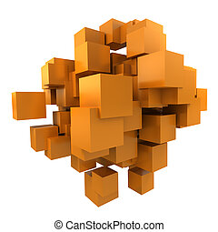 arancia, cubi, fondo