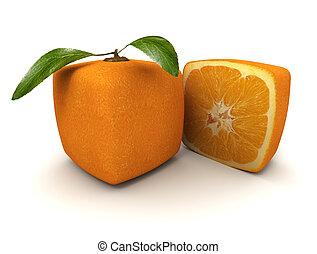 arancia, cubico, mezzo