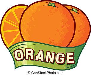 arancia, disegno, etichetta