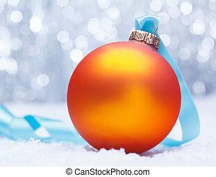 arancia, dorato, Ardendo, Natale, fronzolo