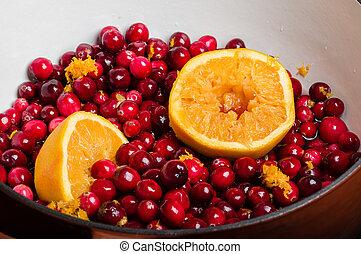 arancia, fabbricazione, salsa, mirtilli, mirtillo