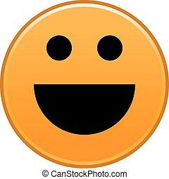 arancia, faccia sorridente, allegro, smiley, felice, emoticon