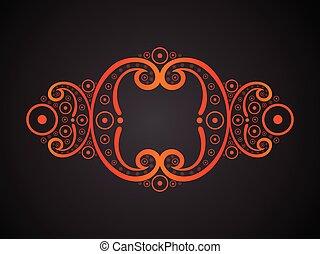 arancia, floreale, astratto, border.eps, creativo