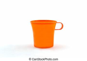 arancia, fondo., bianco, tazza plastica