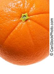 arancia fresca, macro, dettaglio, isolato, bianco