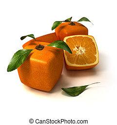 arancia, fresco, composizione, cubico