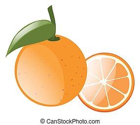 arancia, fresco, foglia, verde