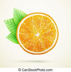 arancia, fresco, foglie