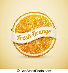 arancia, fresco, nastro