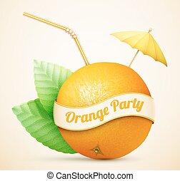 arancia, fresco, ombrello, bastone