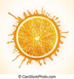 arancia, fresco, schizzo