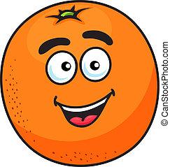 arancia, frutta, cartone animato, maturo