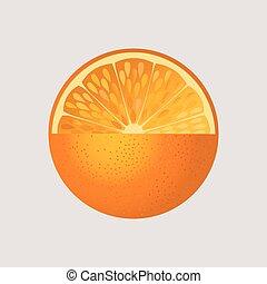 arancia, frutta, isolato
