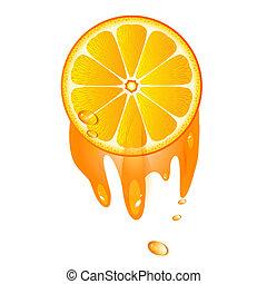 arancia, frutta, succoso, fetta