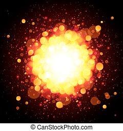 arancia, fuoco, vettore, esplosione, spazio