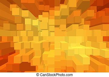 arancia, geometrico, cubo, fondo