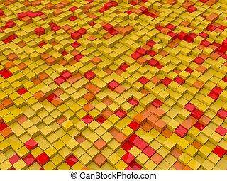 arancia, giallo, cubi, rosso