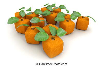 arancia, gruppo, cubico