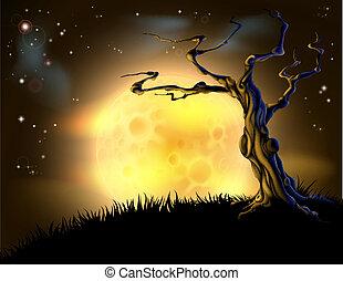 arancia, halloween, albero, fondo, luna