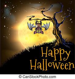 arancia, halloween, vampiro, pipistrello, fondo