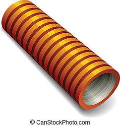 arancia, idraulica, tubo, vettore, corrugato