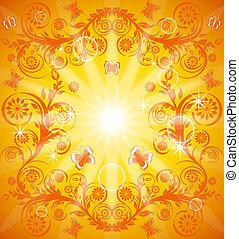 arancia, illustrazione, floreale, eps10, butterfly., vettore, ornamento