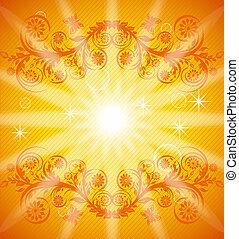 arancia, illustrazione, fondo, floreale, eps10, butterfly., vettore, ornamento