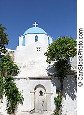 arancia, isola, paros, albero, chiesa