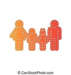 arancia, isolated., segno., applique, famiglia