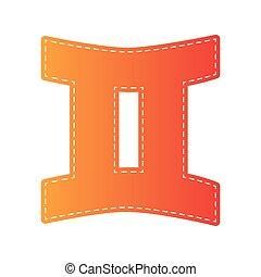 arancia, isolated., segno., applique, gemelli