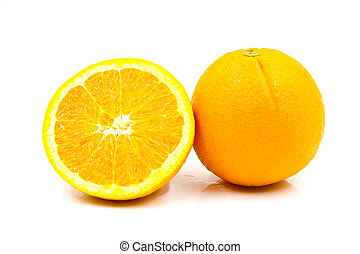 arancia, isolato, bianco, fondo