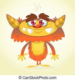 arancia, lanuginoso, cartone animato, mostro