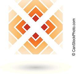 arancia, lettera x, icona, con, quadrato, e, triangoli, vettore, illustrazione