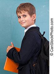 arancia, libro, ?ute, presa a terra, scolaro