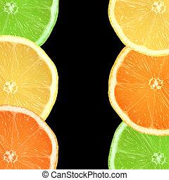 arancia, limone, calce, fette