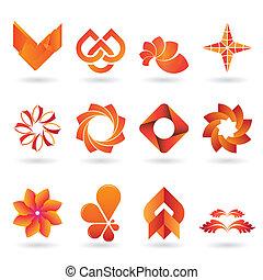 arancia, logotipo, contemporaneo, collezione, icona