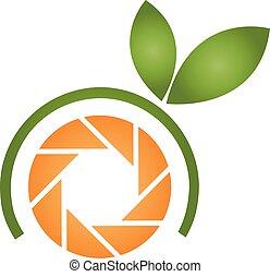 arancia, logotipo, fotografia