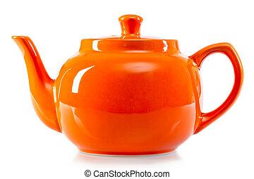 arancia, luminoso bianco, fondo, teiera