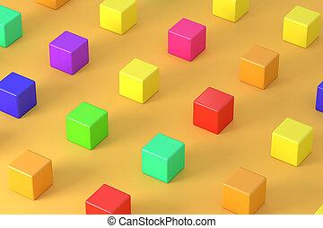 arancia, luminoso, cubi, fondo, colorito
