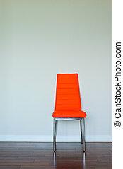 arancia, luminoso, sedia, cuoio