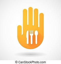 arancia, mano, coltelleria, icona