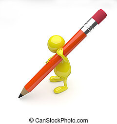 arancia, matita, 3d, persone