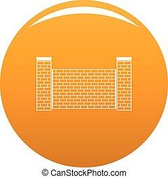 arancia, mattone, vettore, recinto, icona