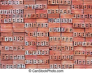 arancia, mattoni, primo piano, pila