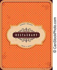 arancia, menu, ristorante, bello